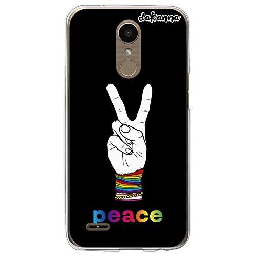 dakanna Funda para LG K10 2017 | Mano y Frase Peace Multicolor | Carcasa de Gel Silicona Flexible Transparente