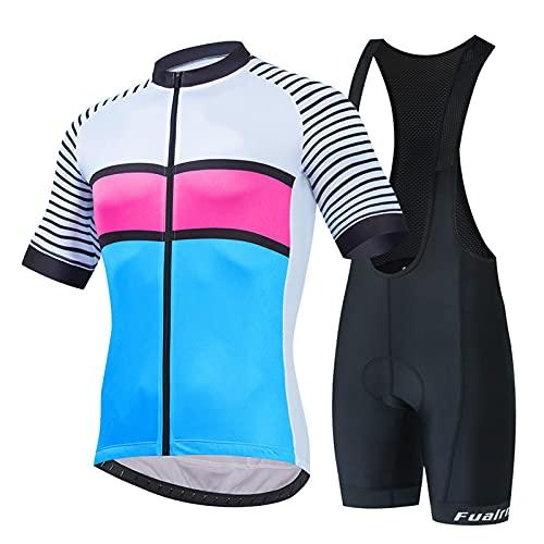 Maillot Ciclismo Corto de Verano para Mujer, Respirable Secado Rápido Ciclo Jersey de Manga Corta + 20D Almohadilla De Gel Culote