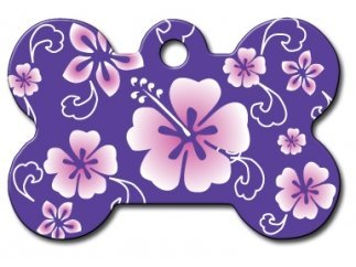 Polka Dots | Flowers | Fun Collection Licensed Personalized Custom Engraved Pet ID Tags! (Hawaiian Flowers Purple (Bone), Large)