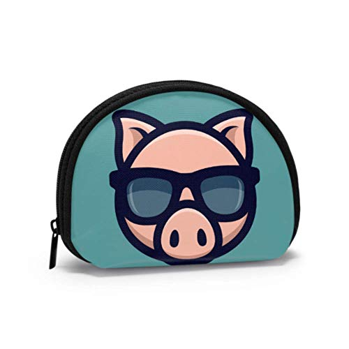 Vintage Coin Purses & Pouches Cool Pig Sunglasses Icon Piggy Head Zip Coin Purse for Girls Coin Purses for Women with Zipper Mini Cosmetic Makeup Bags for Women Girls Party Gifts and Decorations