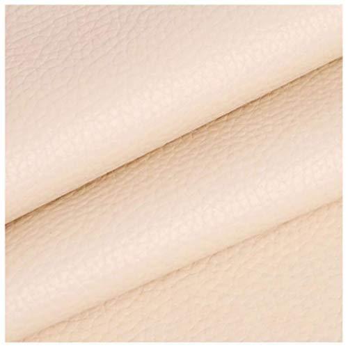 YANGUANG Polipiel Tela Cuero Artificial Manualidades, de Polipiel para tapizar, Venta de Polipiel por Metros, Tejido de Piel sintética, Piel sintética,De Color Blanco cremoso, 1,4 × 1m