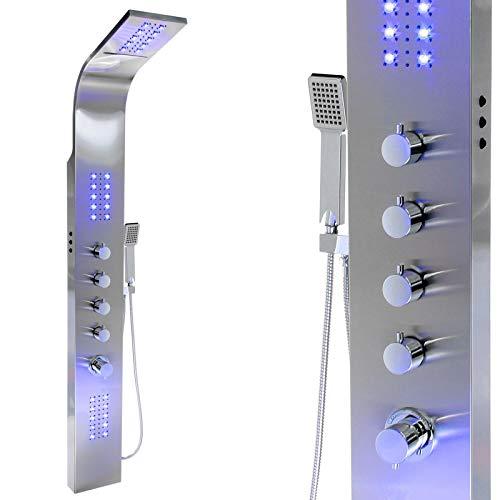 LED Edelstahl Premium 165 Duschpaneel Multi Funktion Regen Wasserfall Duschsäule, mit Thermostat