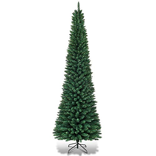 Goplus 5FT Pencil Christmas Tree, Artificial Slim Skinny Tree, 220 Branch Tips, with Sturdy Metal Stand, Unlit Xmas Tree for Home Office Shops and Hotels