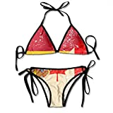 Canadá y España Bandera Retro Traje de baño de Playa de Dos Piezas para Mujer Traje de baño clásico con Cordones Triángulo Bikini Traje de baño Surf