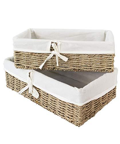Made Terra Cestini in Vimini Intrecciati, cestini Decorativi e Organizer per Bagno per Soggiorno, Bagno, Organizer per Armadio (Seagrass, Set 2)