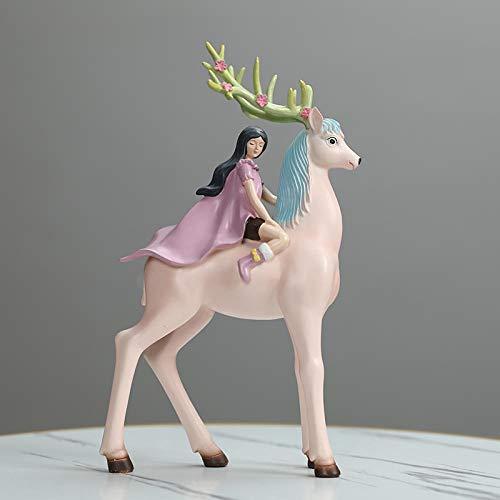 BGHYU Linda Chica decoración Sala de Estudio Sala de Estar decoración Animal Escultura Estatua Regalo-A_20 * 15 * 32 CM