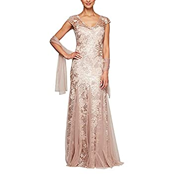 Alex Evenings Women s Long Fit and Flare Dress Godet Detail  Petite and Regular  Rose Gold 16
