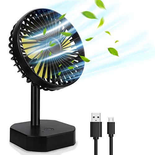 ACADGQ Mini Desk Fan Personal USB Desktop Fan with 4 blades, Adjustable Head Height, Powerful Airflow, Quite Brushless Motor, 3 Speeds Fan for Home, Office