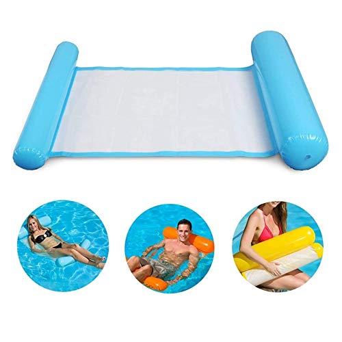 Gspirit Aufblasbares Schwimmbett, Wasser-Hängematte 4-in-1Loungesessel Pool Lounge luftmatratze Pool aufblasbare hängematte Pool aufblasbare hängematte für Erwachsene und Kinder (Blau)