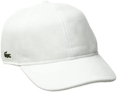 Lacoste Mens Cotton Pique Cap Baseball Cap, White, L