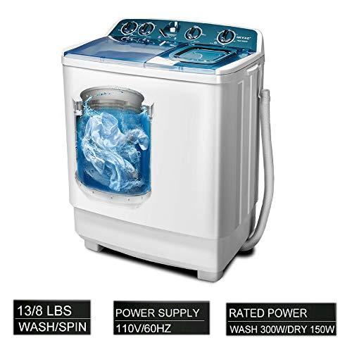 OKVAC Twin Tub Portable Washing Machine Semi-Automatic Washer Capacity (13lbs) & Spiner Capacity (8lbs)