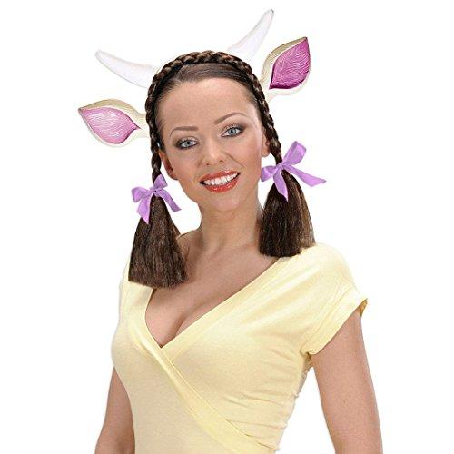 NET TOYS Cornes Vache avec Oreilles Serre-tête Oreilles de Vache Serre-têtes Oreilles animales Serre-tête Cornes de Vache Bandeau Molly Accessoire déguisement d'animal Accessoire déguisement