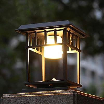 HviLit Classic Black Finish Square Solar Column Light Post Lantern Modern Garden Landscape Lighting Outdoor Rainproof Waterproof Pillar Lamp Aluminum Metal Exterior Rainproof Lawn Table Lamp