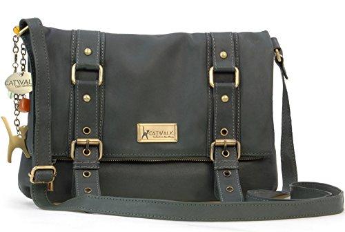 Catwalk Collection Handbags - Leder - Umhängetasche - ABBEY ROAD - Dunkelgrün