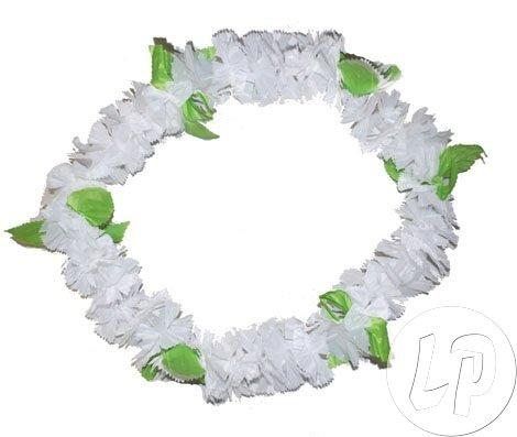 Fiesta Palace – Collar tahiti 70 mm grueso blanco y hojas verdes