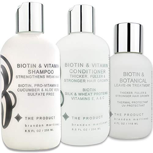 Champú, acondicionador y tratamiento para la caída del cabello con biotina y vitamina