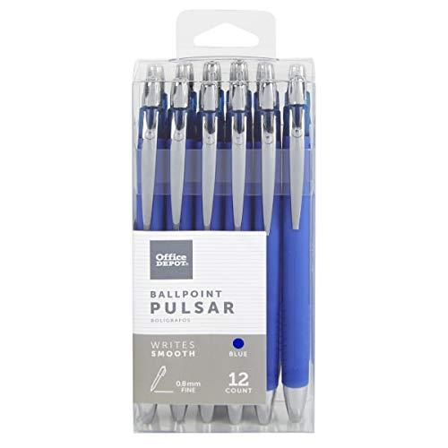 Office Depot Pulsar Advanced Ink Ballpoint Pens, Conical/Medium Point, 0.8 mm, Blue Barrels, Blue Ink, Pack of 12