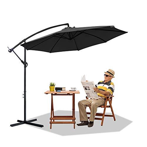 Froadp Ø300cm Alu Sonnenschirme Höhenverstellbarer Ampelschirme mit kurbel Balkonschirm UV40+ Sonnenschutz Gartenschirm für Patio Balkon(Dunkelgrau, mit LED)