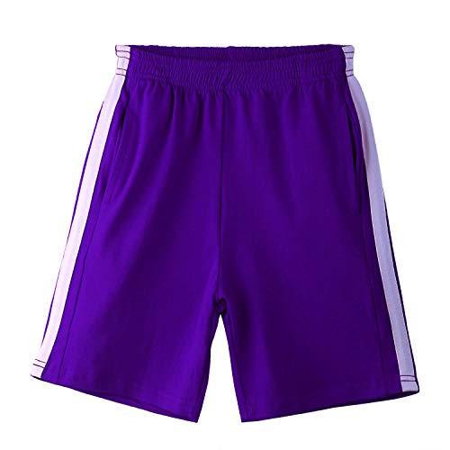 Arshiner Boy's Shorts Basketball Running Shorts Active Gym Shorts Purple for 8 Years