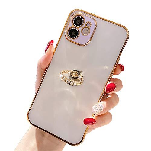 QfireQ Funda Compatible iPhone 12/12 Pro/12 Pro Max/12 Mini Cover de PC esmerilada translúcida galvanizada con Soporte de Anillo Protección de Lentes Estuche a Prueba de Golpes,Púrpura,11 Pro