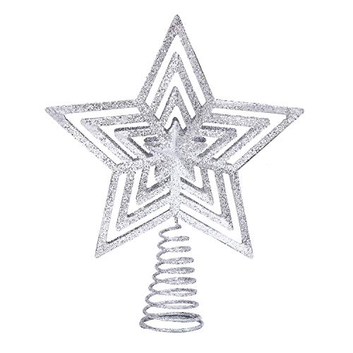 Aneco Glittered Christmas Tree Topper Metal Wire Star Treetop Xmas Tree Topper Star Decoration for Festive Christmas Decor (Silver, 9 Inches)