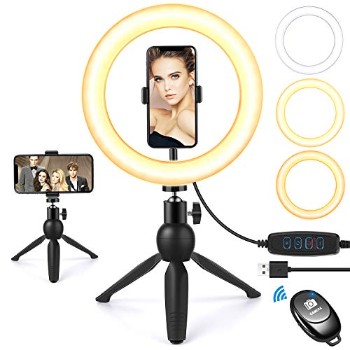 "Selfie Ring Light with Tripod Stand and Phone Holder, 9""Dimmable Desktop LED Circle Light Ringlight for Live Stream, Makeup, YouTube, Video Shooting with Remote Control, 3 Light Modes & 10 Brightness"