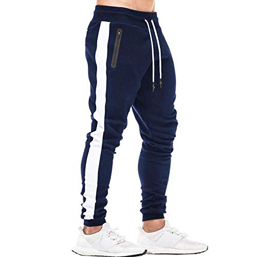 Tansozer Sporthose Herren Lang Jogginghose Herren Baumwolle Trainingshose Männer Jogging Hose Herren Slim Fit Gym Fitness Sweathose Trackpants mit Kordel Stretch Blau XL