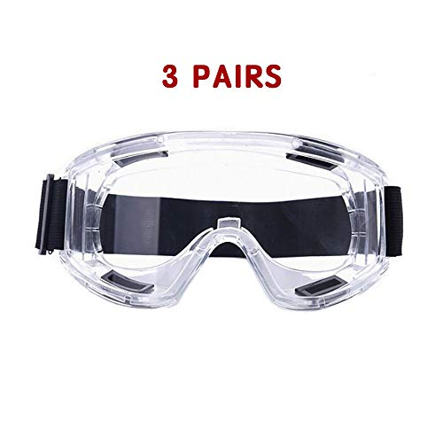 Safety Goggles Outdoor Anti Droplet Anti Fog Safety Goggles Eye Protector Protective Glasses (3, Transparent)