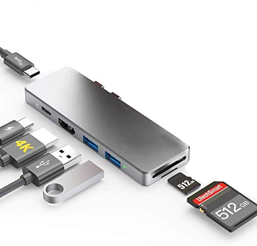 USB C Hub Macbook Pro Air 2020/2019/2018/2017, 7 IN 1 Type C Extender with Charging Data Transfer Thunderbolt 3, 4K HDMI, USB 3.0, SD/Micro SD Card Reader Female Port Matte Heat Off Aluminum Adapter