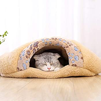 Maisons et dômes YCDJCS Caves Cat 2 en 1 Pet Bed Cat Dog Bed Cave Ultra Doux Lit Animaux Lit Confortable for Chats Hiver au Chaud Pet Supplies (Color : Yellow, Size : 60x18cm)