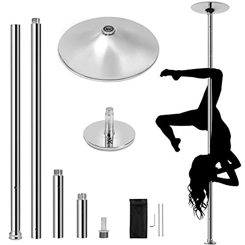 """YAHEETECH New Stripper Dance Pole Spinning Static Dancing Pole Portable Removable for Home Club Bar Gym 44.5-108.3"""" Height Adjudtable & Weight Capacity 500lb"""