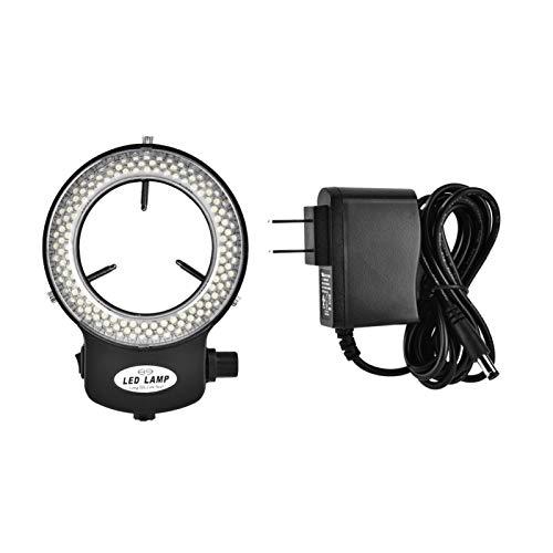 Akozon Microscope LED Light, Microscope Camera 144 LED Beads Light Source Brightness Adjustable Ring Lamp for Stereo Microscope & Camera (Black)