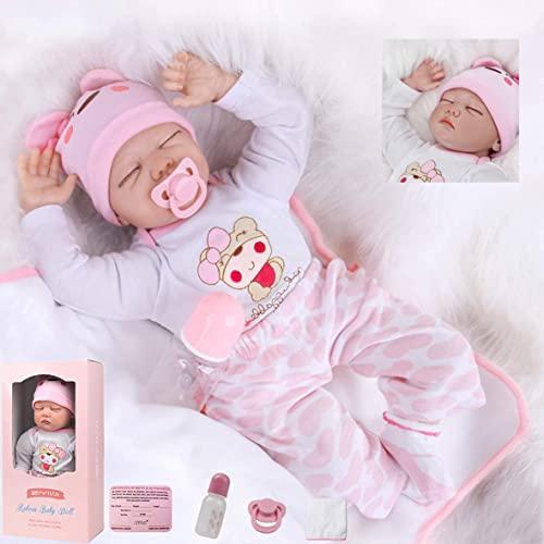 ZIYIUI Muñecas Reborn Niña 22 Pulgadas 55cm Vinilo Silicona Suave Realista Hecho a Mano Recién Nacido Toddler Regalos de Cumpleanos Juguete
