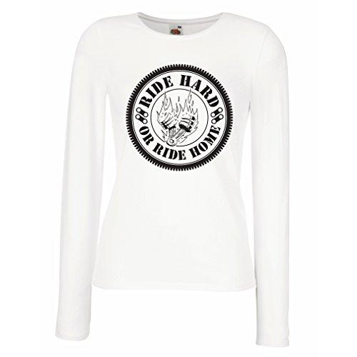 Weibliche Langen Ärmeln T-Shirt Ride Hard! Biker Clothing (Medium Weiß Mehrfarben)