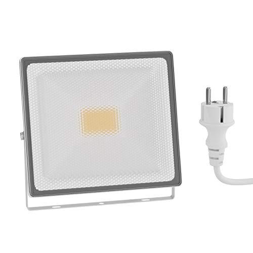 Preisvergleich Produktbild ledscom.de LED Außen-Strahler Flin,  Scheinwerfer,  IP66 wasserfest,  mit Stecker weiß 30W 2400lm warm-weiß
