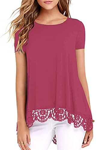 Odosalii Damen Sommer Kurzarm T-Shirt Pullover Rundhals Spitze Tunika Top Lässige Oberteil Bluse Shirt (01-Fuchsie, X-Large, x_l)