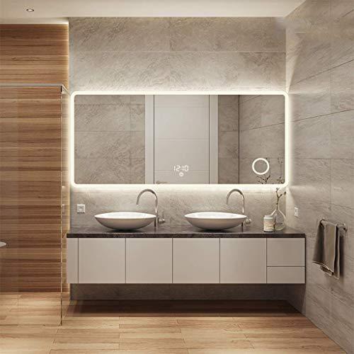 DERUKK-TY Espejo de pared para el hogar y baño, grande, sin marco, biselado, rectangular, iluminado, para montar en la pared, espejo iluminado (tamaño: 70 x 90 cm) (tamaño: 75 x 100 cm)