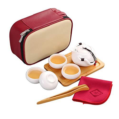 Leobtain Portátil de Viaje Kungfu Juego de Té la Haute cerámica Juego de Té con Hecho a Mano de Cerámica Tetera y 4 Tazas de Té y Bambú Bandeja de Té y Bolsa de Viaje