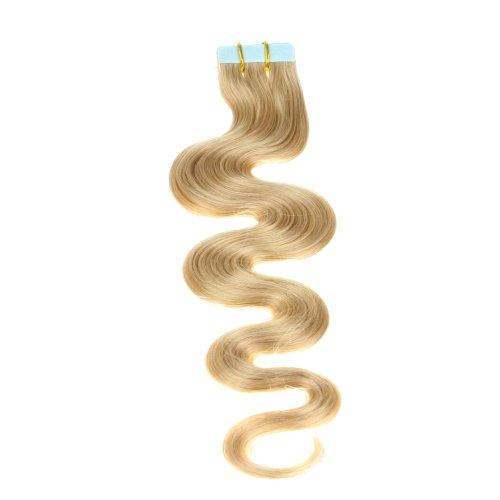 Just Beautiful Hair and Cosmetics Skin Weft Lot de 10 extensions capillaires en cheveux ondulés Remy et avec bandes adhésives Mèches de 2,5 g et 60 cm
