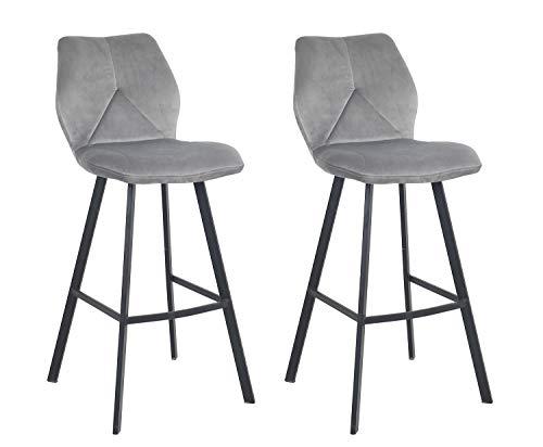 Meubletmoi barkruk, velours, voetensteun, metaal, zwart, hoge stoel, industrieel design, chic & comfortabel, 2 stuks grijs.