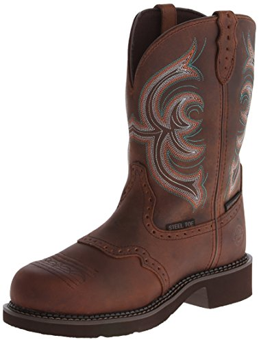Hot Sale Justin Women's Gypsy Waterproof Work Boot Round Steel Toe Aged Bark 7.5 M US