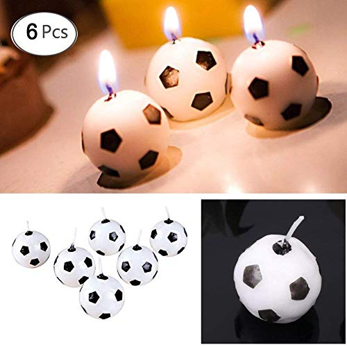 Hacloser 6Pcs/Set Football Candles for Birthday Party, Round Ball Candles 1 inch Kids Toy Gift Soccer Ball Candle Decorations for Home