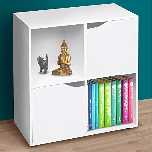 BAKAJI Mobile Armadio Libreria Bassa Design Cubo Moderno Mobiletto Armadietto Scaffale con 4 Ripiani e 2 Ante Dimensione 60 x 29 cm Arredamento Casa Soggiorno Salotto (Bianco)