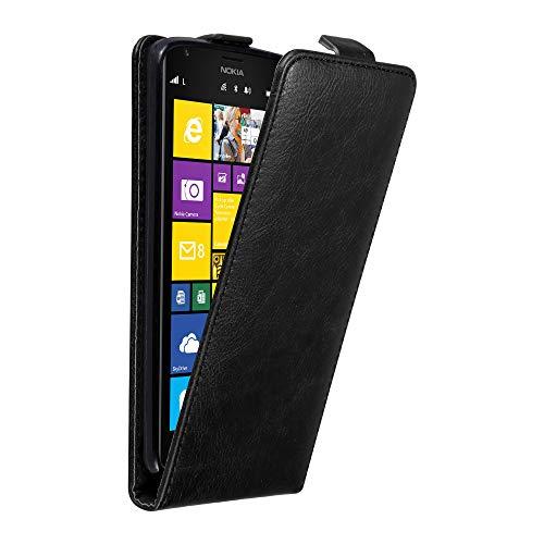 Cadorabo Hülle für Nokia Lumia 1520 in Nacht SCHWARZ - Handyhülle im Flip Design mit unsichtbarem Magnetverschluss - Hülle Cover Schutzhülle Etui Tasche Book Klapp Style