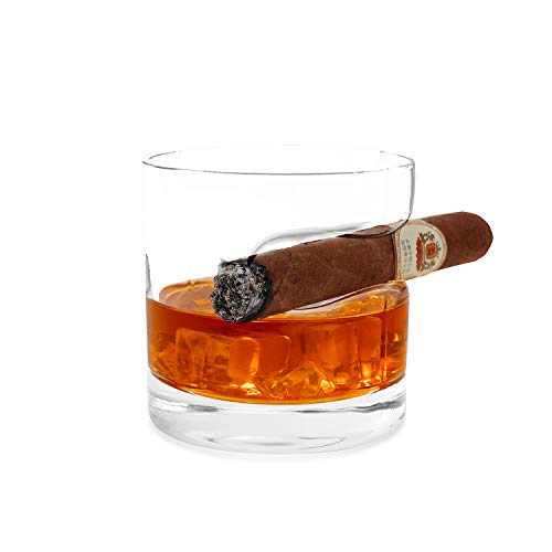 Cigar Whiskey Glass,11oz Old Fashioned Glass with Cigar Rest Holder,Crystal Whiskey Glass in a Premium Gift Box,Cigar Cup Glass Perfect for Whiskey and Cigar Lovers for Birthday,Christmas,Anniversary