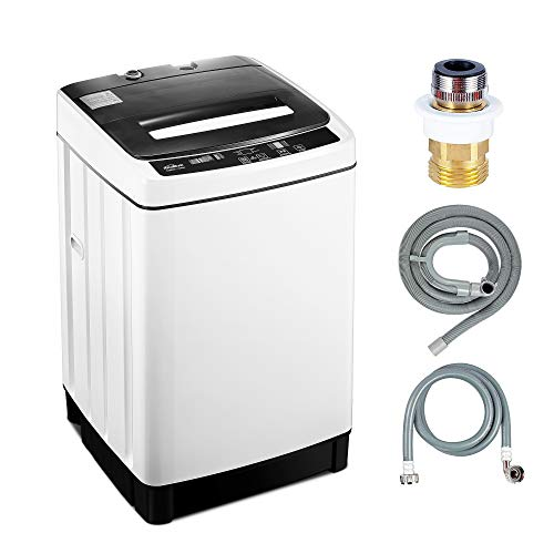 Kealive Full-Automatic Washing Machine Portable Compact 1.55 Cu.ft Laundry Washer Spin with Drain Pump, 8 programs 10 Water Level Selections with LED Display 11 Lbs Capacity