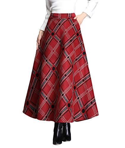 BiilyLi Rayas Cuadros Caliente Larga Falda Otoño de Las Mujeres y la Moda de Invierno Elegante Falda de Lana de Alta Cintura A-Line Cintura elástica (S (Cintura: 64-70 cm), Rojo)