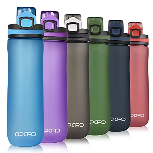 Opard Trinkflasche Sport 600ml - Wasserflasche aus Tritan BPA-Frei, auslaufsichere Sportflasche, Kunststoff Water Bottle mit Sieb - Mit 1 klick öffnen - für Kinder, Schule, Sport, Fahrrad, Fitness