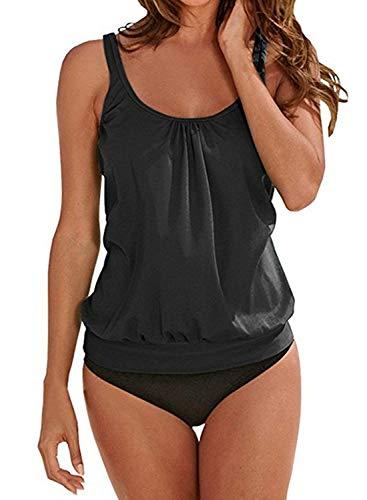 Yidarton Damen Tankini Bauchweg Bedruckter Badeanzug Zweiteiler Bikini Sets Push Up Swimsuit Gepolsterte Bademode Beachwear (7-Schwarz, XXL=(EU,42-44))