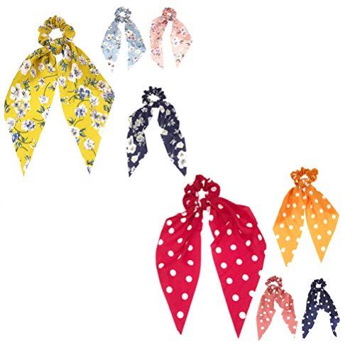 Minkissy 4pcs arc cheveux élastiques chouchous bandeaux pour les cheveux de points floraux cravates cheveux foulard cheveux bowknot queue de cheval titulaire pour les femmes dame fille